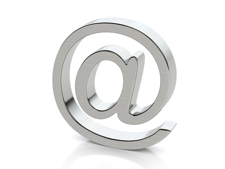 symbols: Metallic email symbol on a white background.