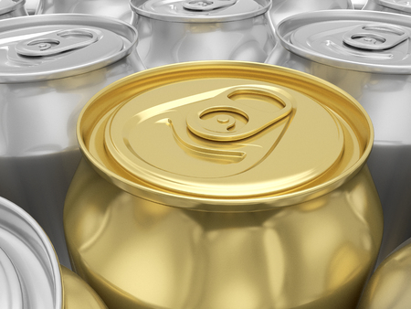gold cans: Aluminum and gold drink cans background. 3D illustration.