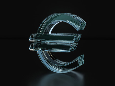 Glass euro symbol on a black background. 3D illustration.