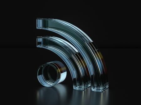 Glass RSS symbol on a black background. 3D illustration.