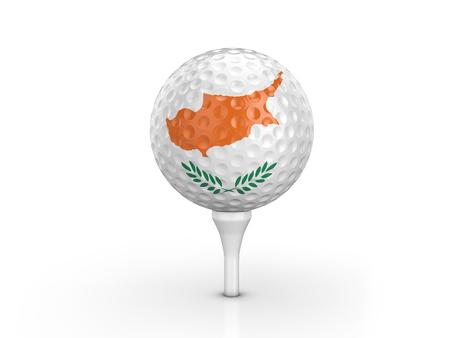 Golf ball Cyprus flag on a white background. 3D illustration.