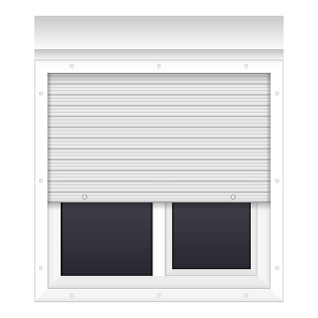 Window with rolling shutters on a white background.