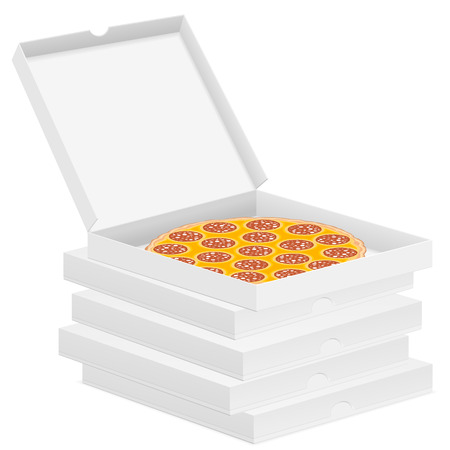 Delicious pizza in box isolated on white background.