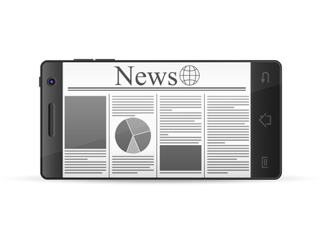 read magazine: Phone with newspaper on a white background. Illustration