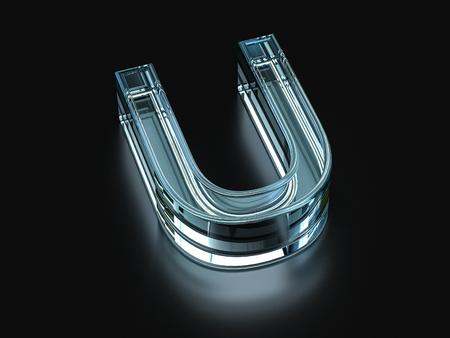 Glass letter U on a black background. 3D illustration. Banco de Imagens