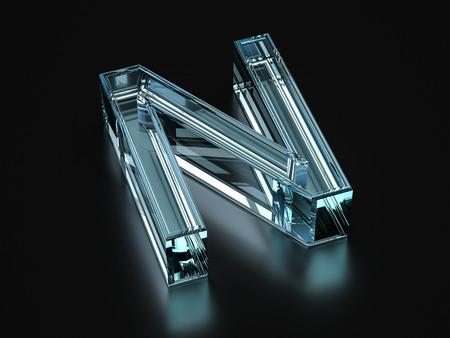 Glas Buchstaben N auf einem schwarzen Hintergrund. 3D-Darstellung.