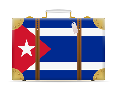 Cuba flag travel suitcase on a white background.