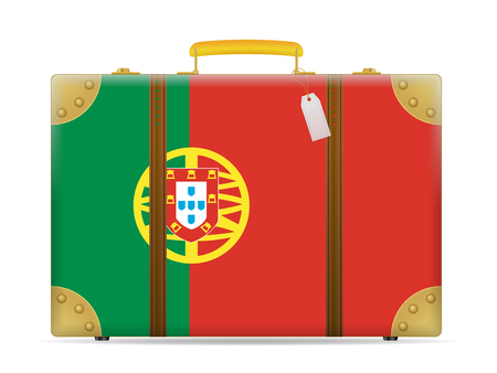 Portugal flag travel suitcase on a white background.