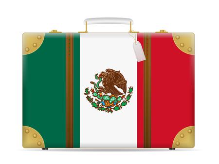 Mexico flag travel suitcase on a white background. Illustration