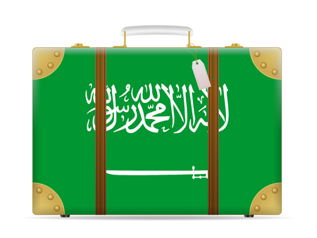 Saudi Arabia flag travel suitcase on a white background.