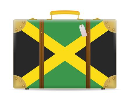 Jamaica flag travel suitcase on a white background. Illustration