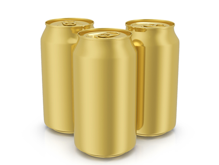 Gold drink cans on a white background. 3D illustration.