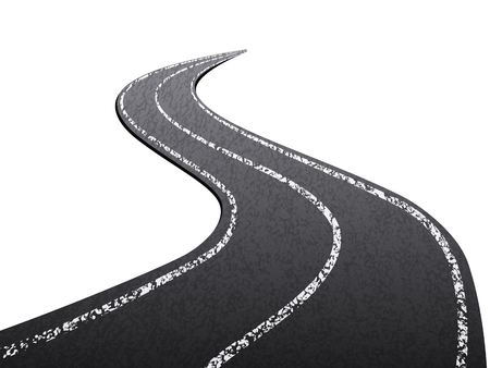 Asphalt road on a white background.