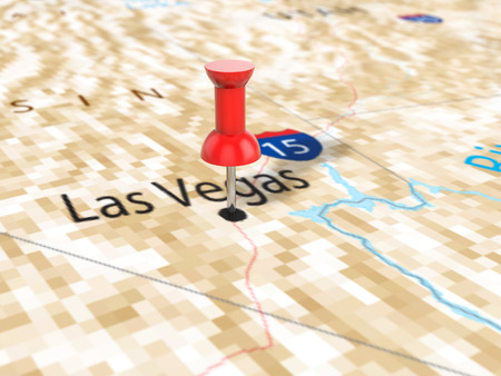 Pushpin on Las Vegas map background. 3d illustration. Stock Photo