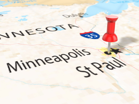 Pushpin on Minneapolis map background. 3d illustration. Stock Photo