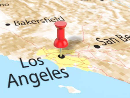 Pushpin on Los Angeles map background. 3d illustration.