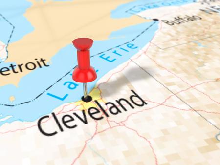 Pushpin on Cleveland map background. 3d illustration. Stock Photo