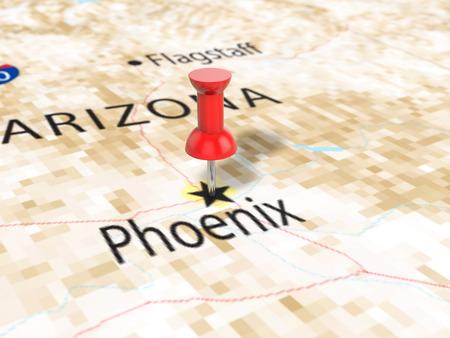 Pushpin on Phoenix map background. 3d illustration.