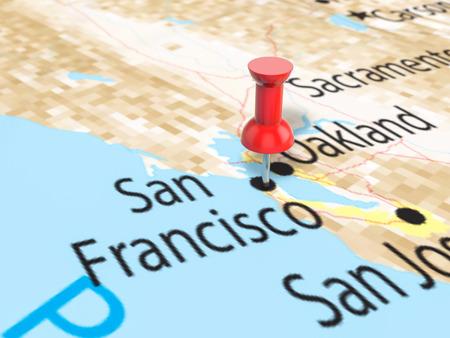 Pushpin on San Francisco map background. 3d illustration. Stock Photo