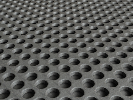 steel sheet: Metal grid with round holes pattern background. 3D illustration. Stock Photo