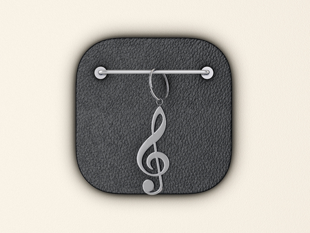 Music note symbol on wall. 3d illustration.