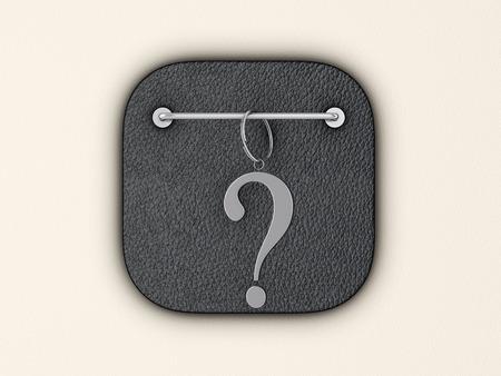 Question symbol on wall. 3d illustration.