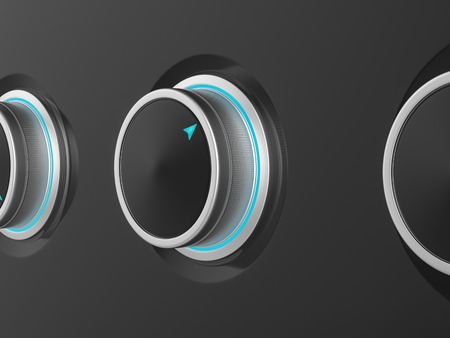 volume knob: Metal sound volume control knobs. 3d Illustration. Stock Photo