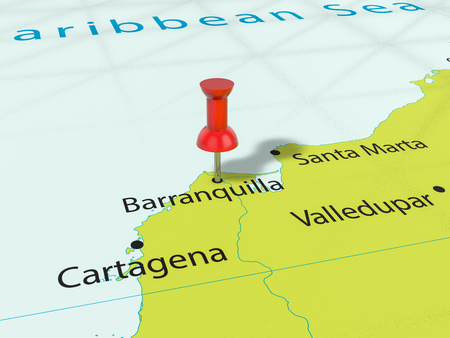 Pushpin on Barranquilla map background. 3d illustration.