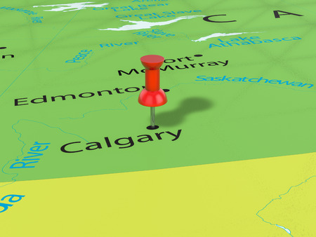 calgary: Pushpin on Calgary map background. 3d illustration.
