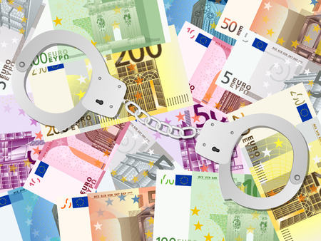 Handcuffs on euro banknotes background. Vector illustration.