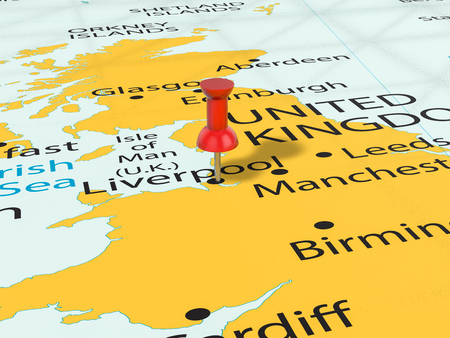 Pushpin on Liverpool map background. 3d illustration. Stock Photo