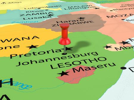 Pushpin on Johannesburg map background. 3d illustration. Stock Illustration - 80748186