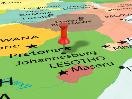 Pushpin on Johannesburg map background. 3d illustration. Stock Photo
