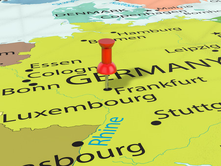 Pushpin on Frankfurt map background. 3d illustration. 版權商用圖片