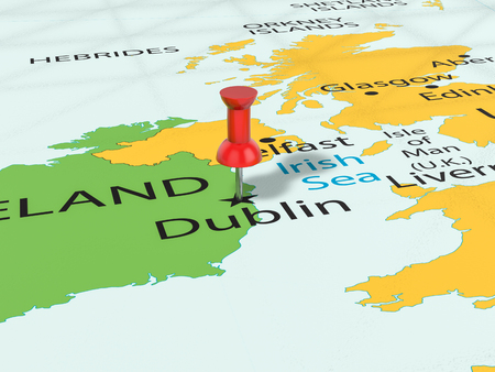 Pushpin on Dublin map background. 3d illustration. Stock Photo