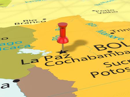 Pushpin on La Paz map background. 3d illustration. Banco de Imagens