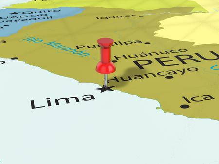 Pushpin on Lima map background. 3d illustration.