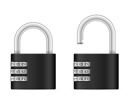 Padlock set on a white background.
