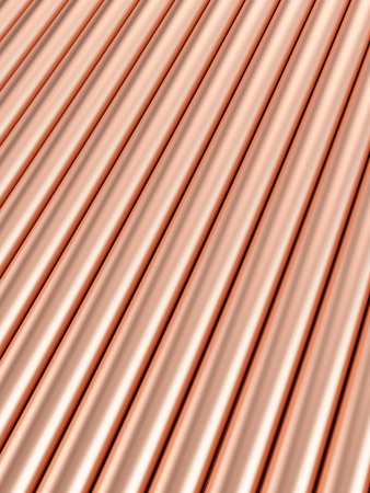 Background formed by copper pipes. 3d illustration. Stock Photo