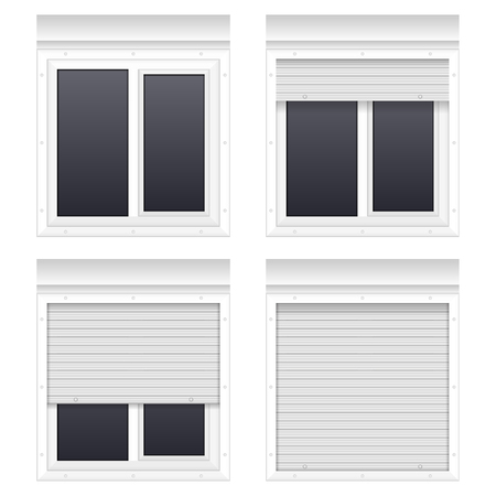 Window with rolling shutters on a white background. Stock Photo
