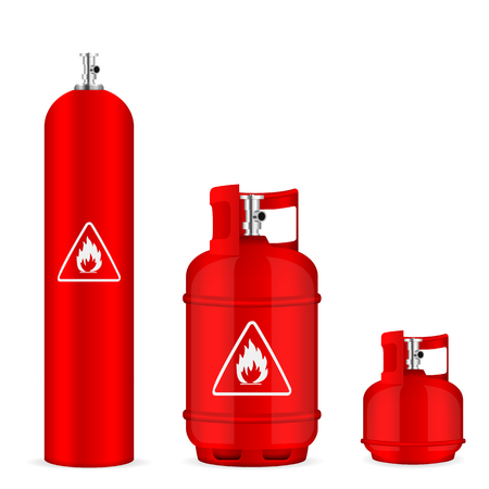 Propane gas cylinders set on a white background. Illustration