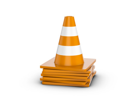 Traffic cones on a white background. 3d illustration. Stock Photo