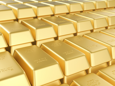 Background formed by gold bars. 3D illustration. Stock Photo
