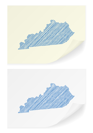 Kentucky scribble map on a white background. Illustration