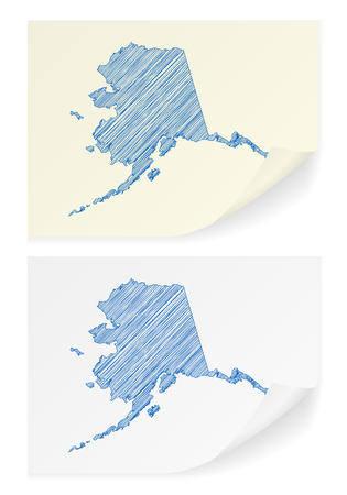 notepaper: Alaska scribble map on a white background.