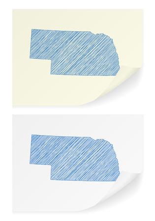 ネブラスカ州 (フリーハンド) ホワイト バック グラウンド地図