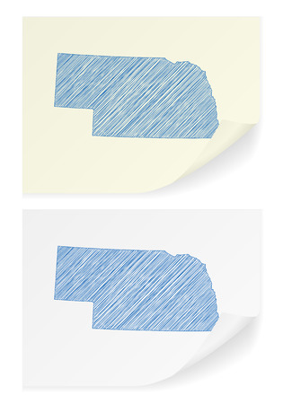 Nebraska scribble map on a white background. 向量圖像