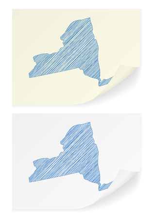 New York scribble map on a white background.