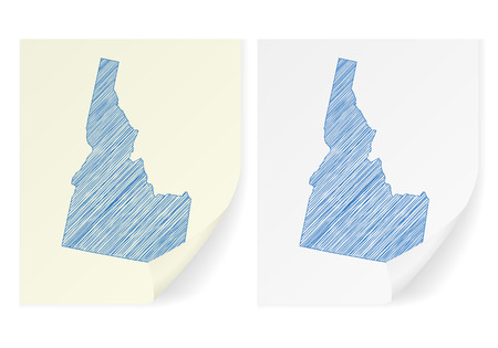 Idaho scribble map on a white background. Illustration