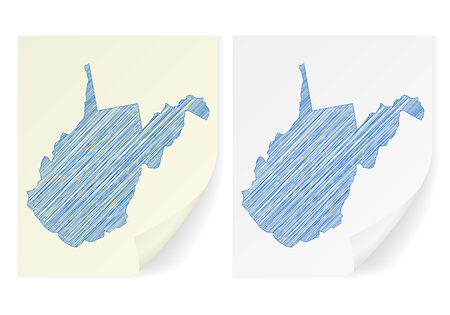 West Virginia scribble map on a white background.